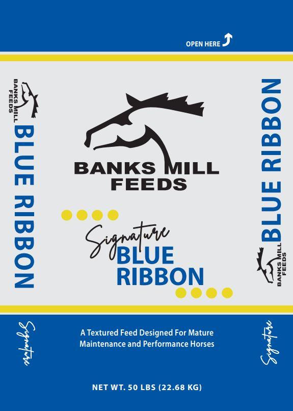 blue ribbon feed bag